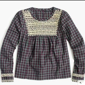 NWOT J. Crew Embroidered Peasant blouse